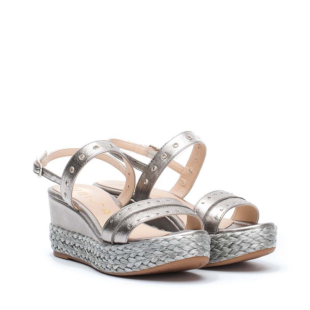 49d6b17401af UNISA KEEL LMT - Metallic sandals with wedge with braid and metallic ...