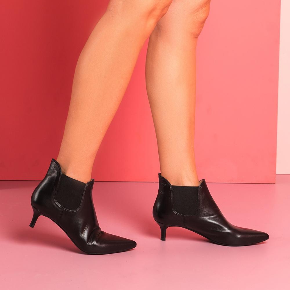 Black Kitten Heel Booties