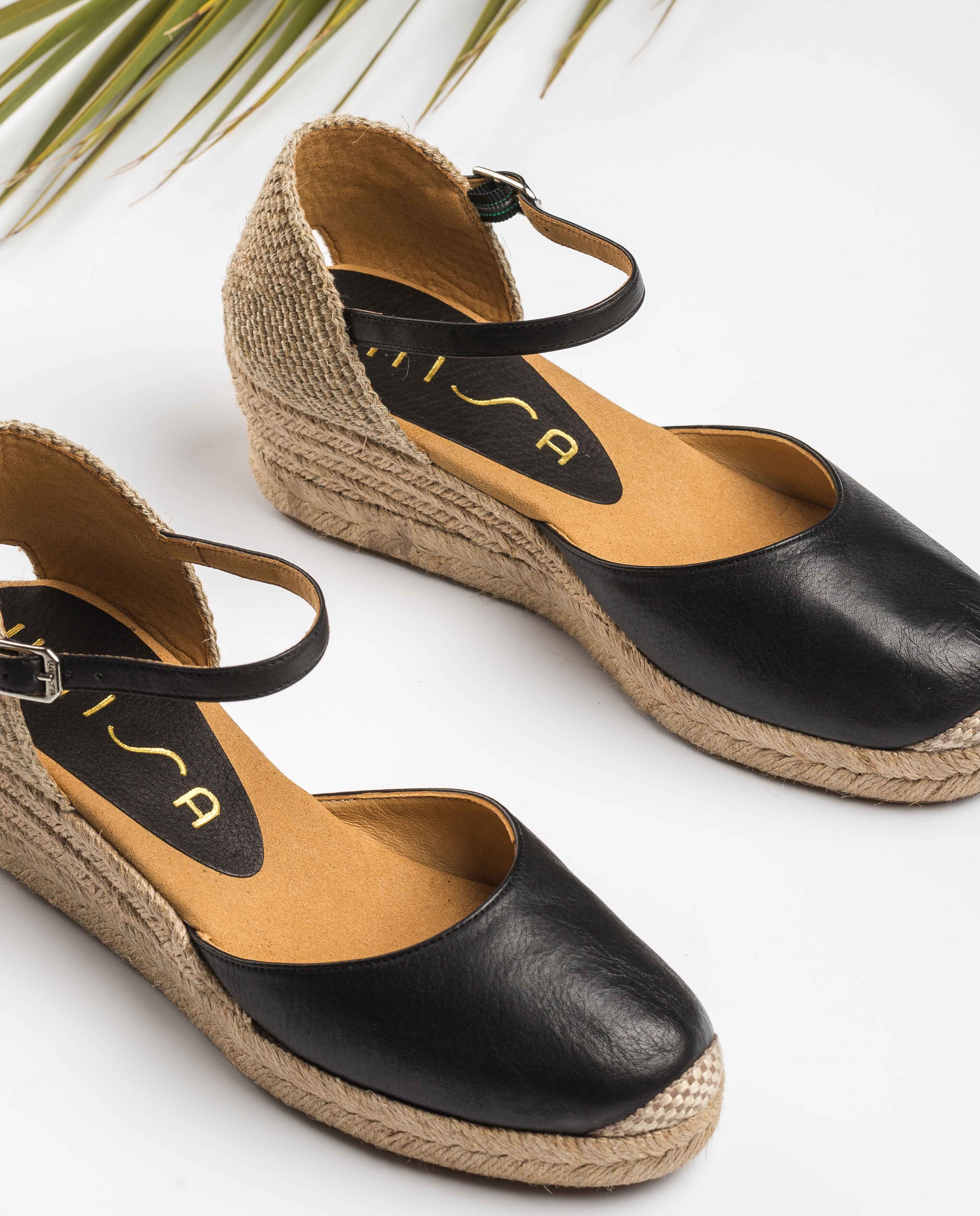 Low wedge leather espadrilles
