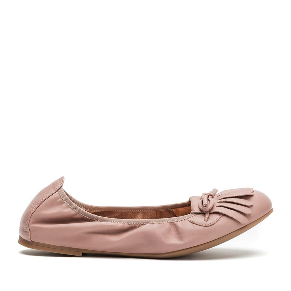 UNISA AYELE ST - Fringed loafer pink leather ballerinas Ayele St 1a67c816d6