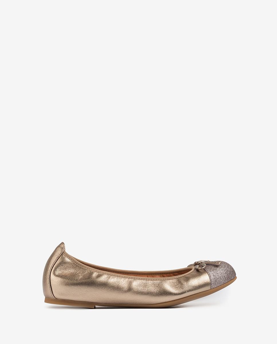 Copper contrast ballerinas