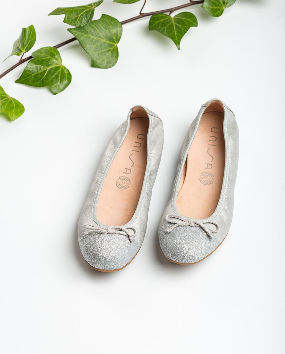 Silver contrast ballerinas