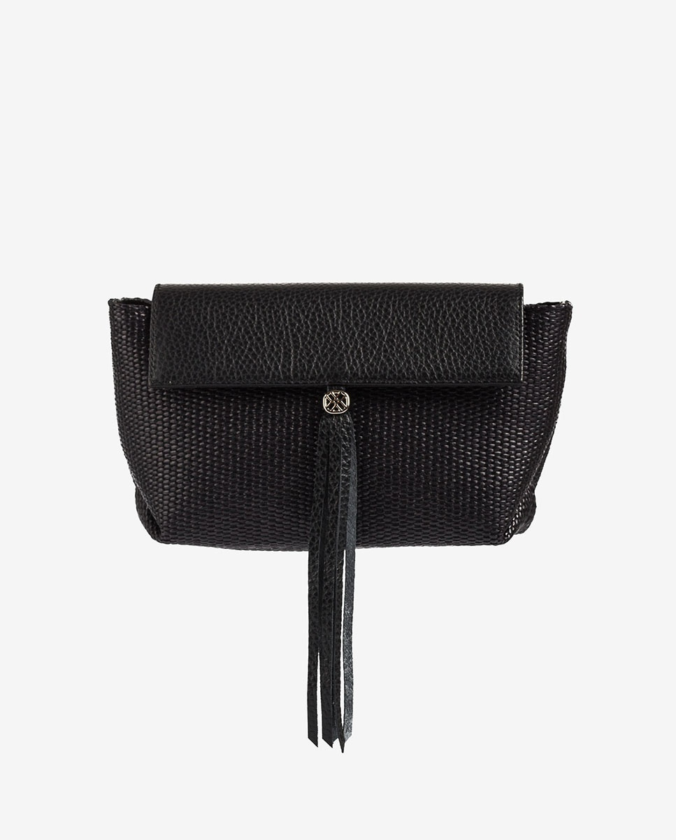 UNISA Mini black raffia shoulder bag ZALESKA_MM_ROP black 2