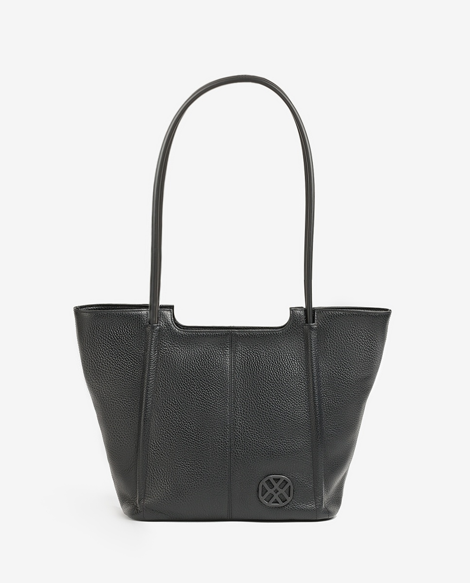 UNISA Leather monogram shopper bag ZSEBBA_MM black 2