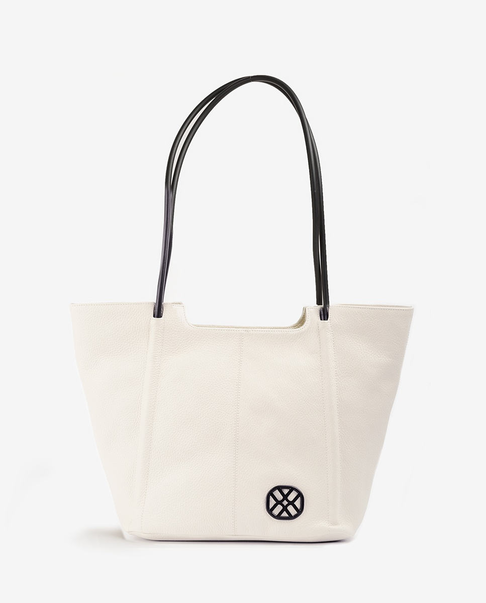 UNISA Shopper bag de piel monograma ZSEBBA_MM ivory