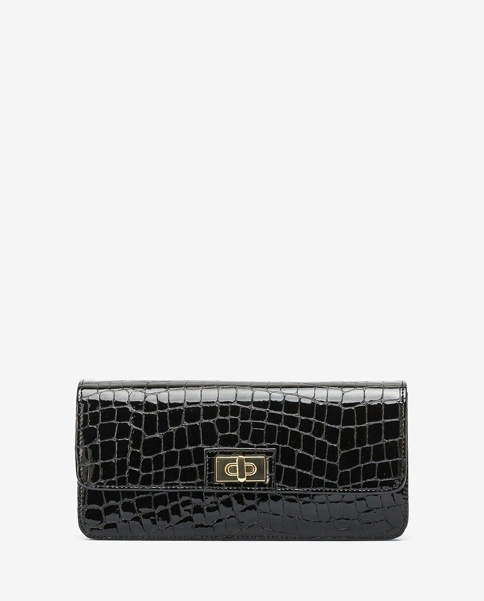 Croc effect patent leather handbag