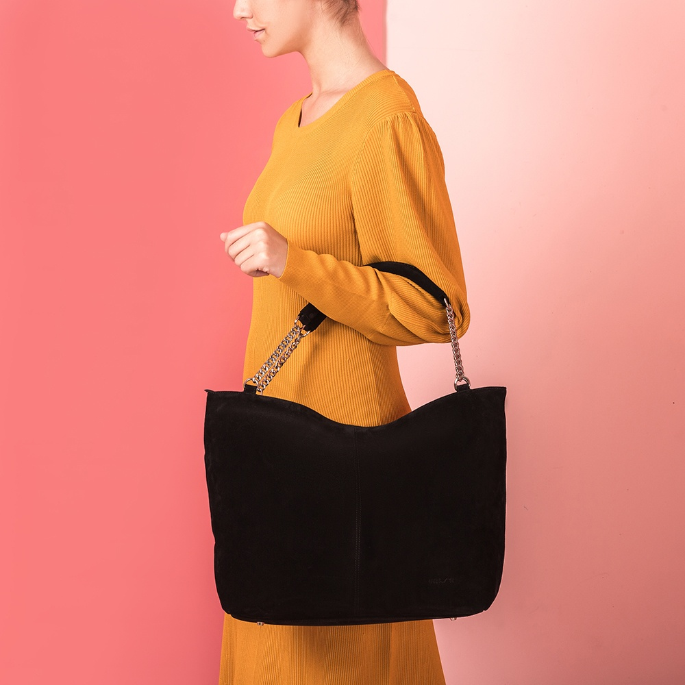 UNISA Black kid suede tote bag ZVOLGA_BS black 2