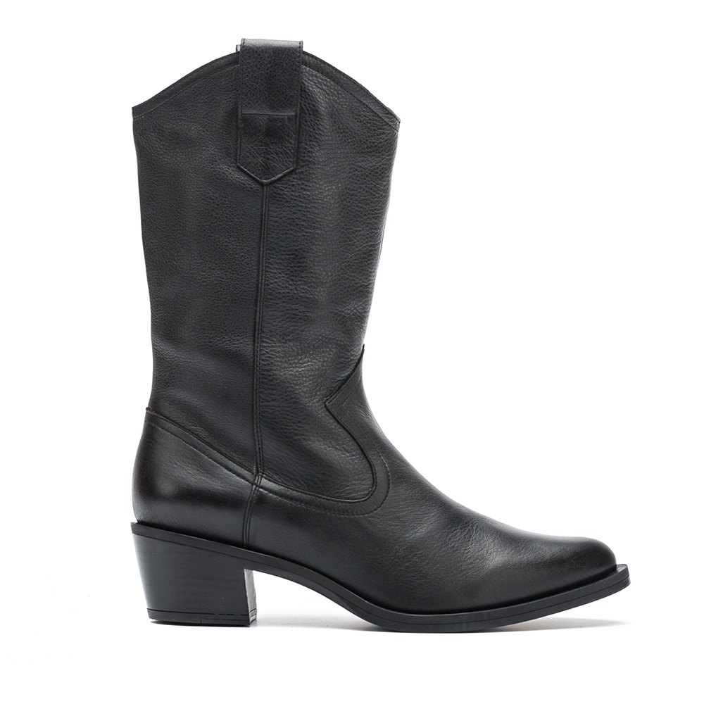 UNISA Black leather cowboy booties GLADIS_GLO black 2