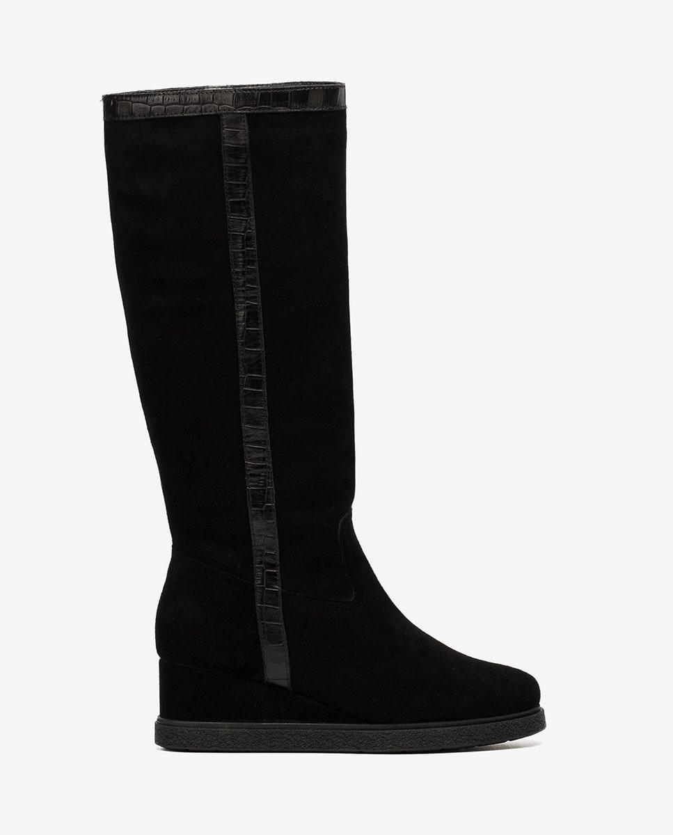 black suede scrunch boots