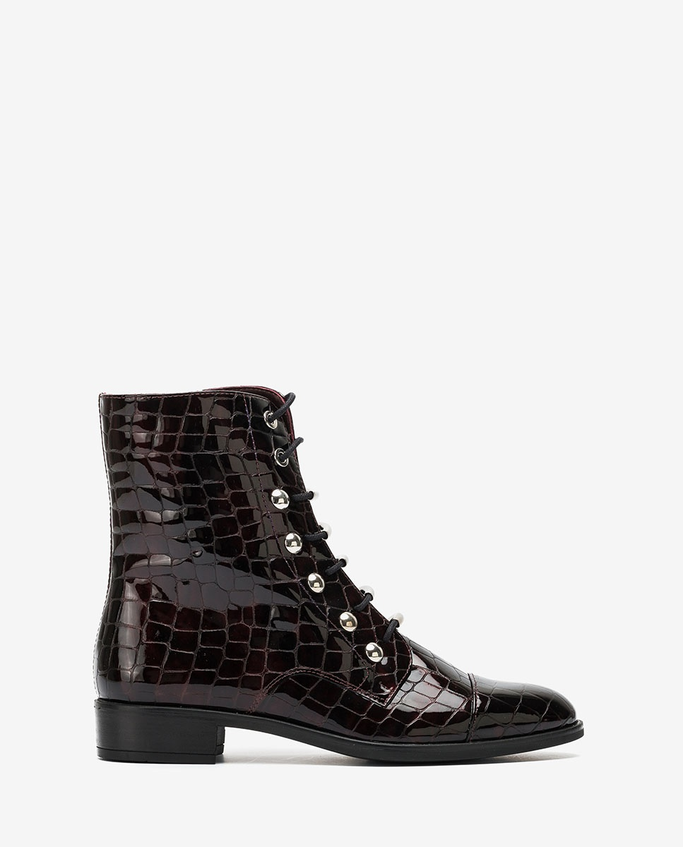 Burgundy lace up ankle boots BARO_CSH