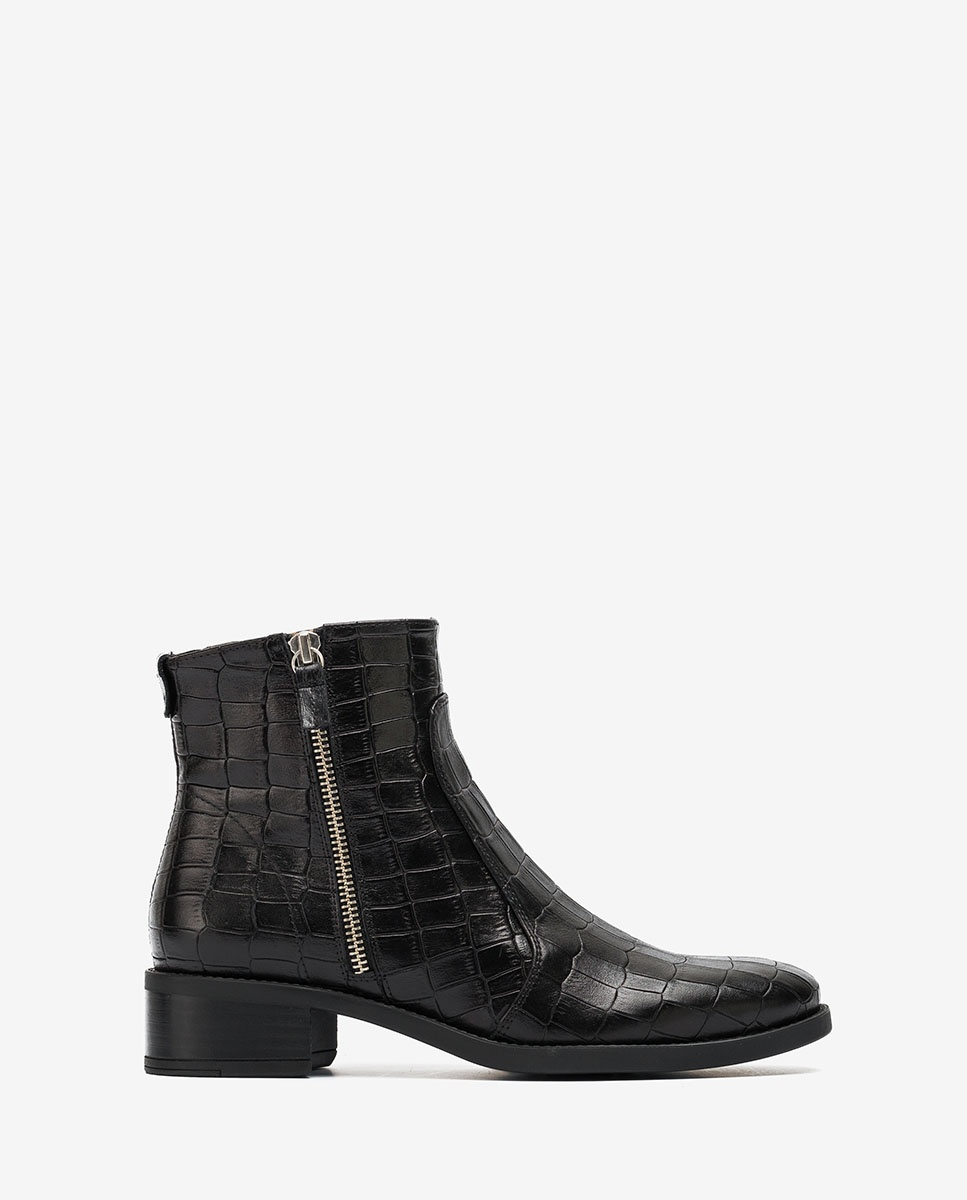 croc leather ankle boots