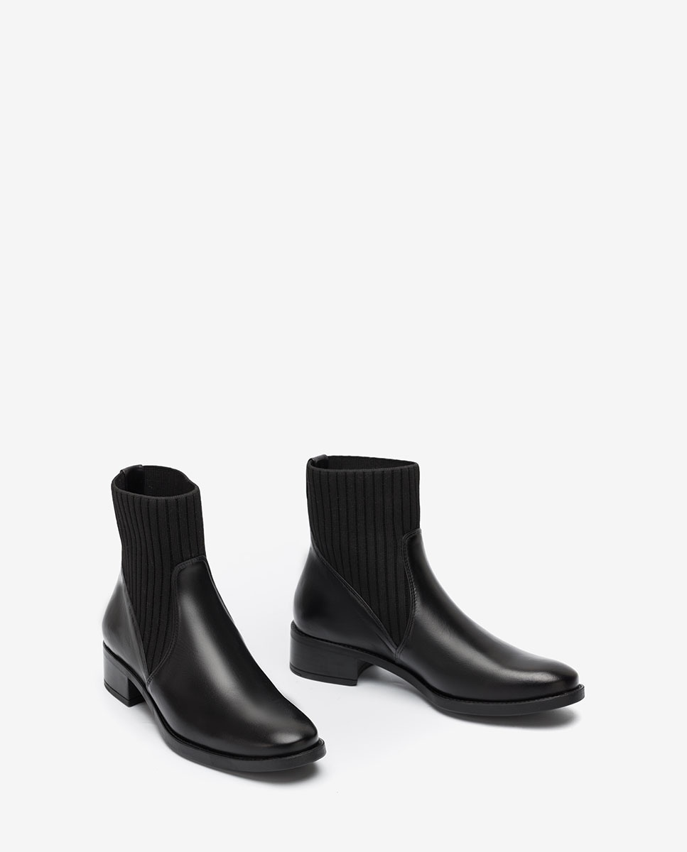 Black leather ankle boots with sock