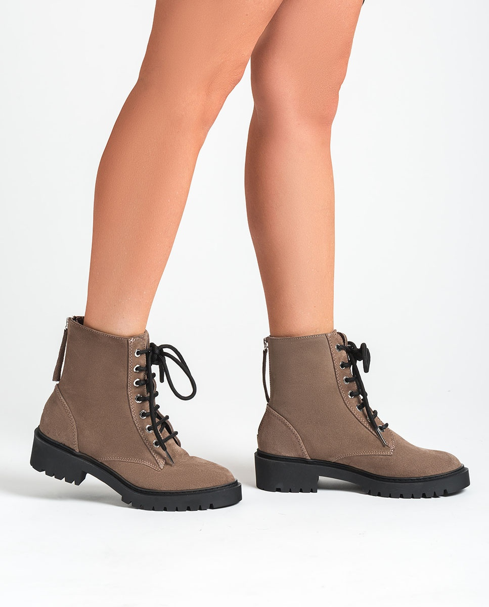s kid suede military style ankle boots