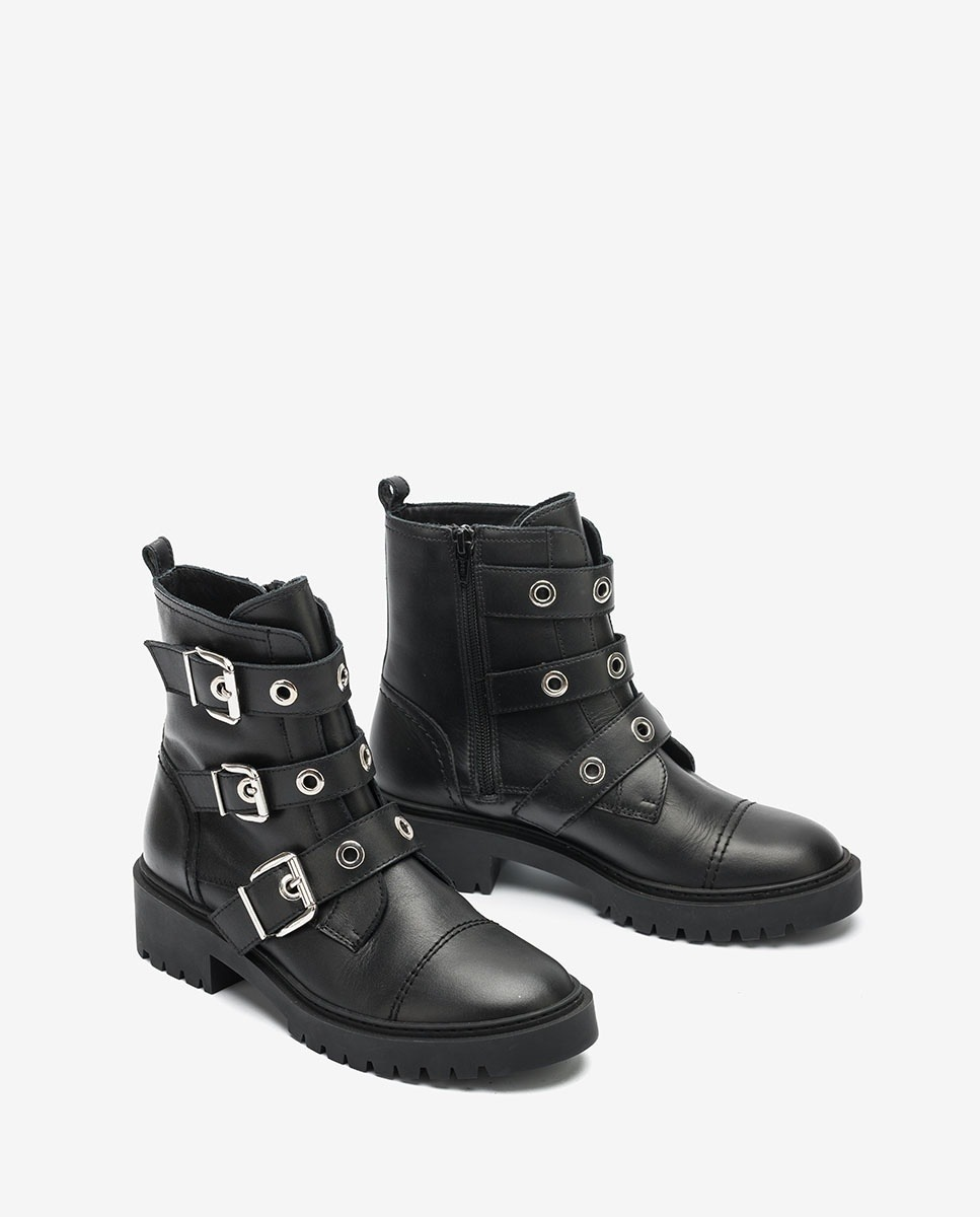 Black biking ankle boots with buckles