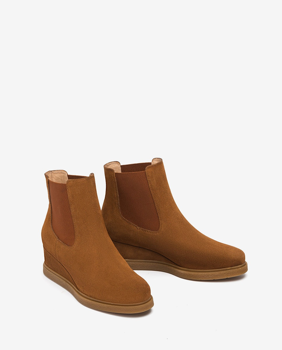 bottine semelle compensée en bois marron