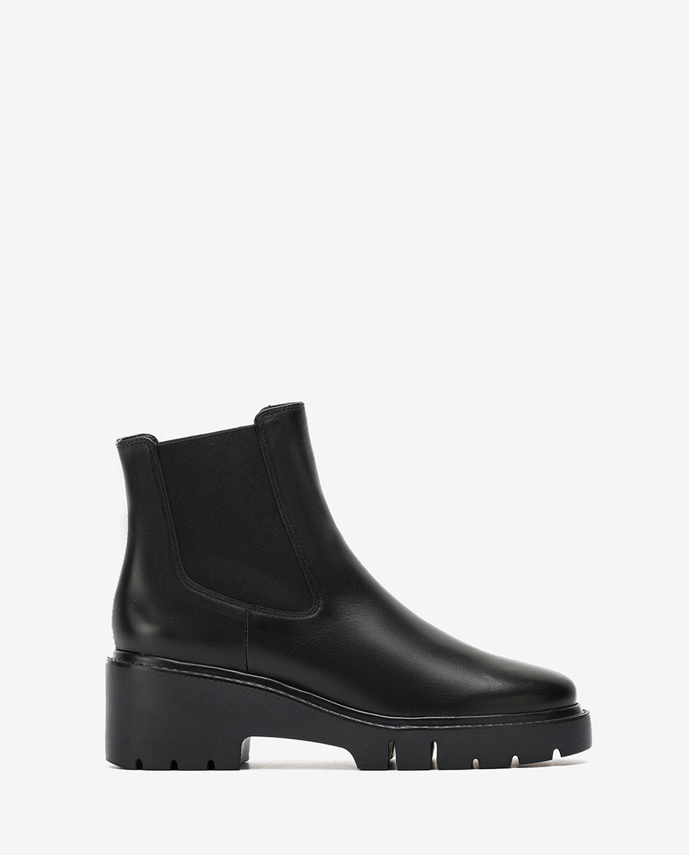 Black Chelsea ankle boots track soles