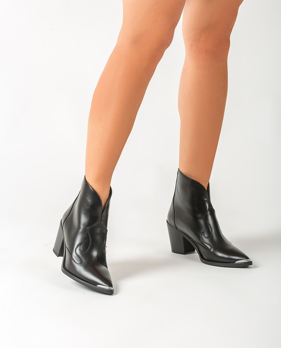 Black Cowboy ankle boots with metalic