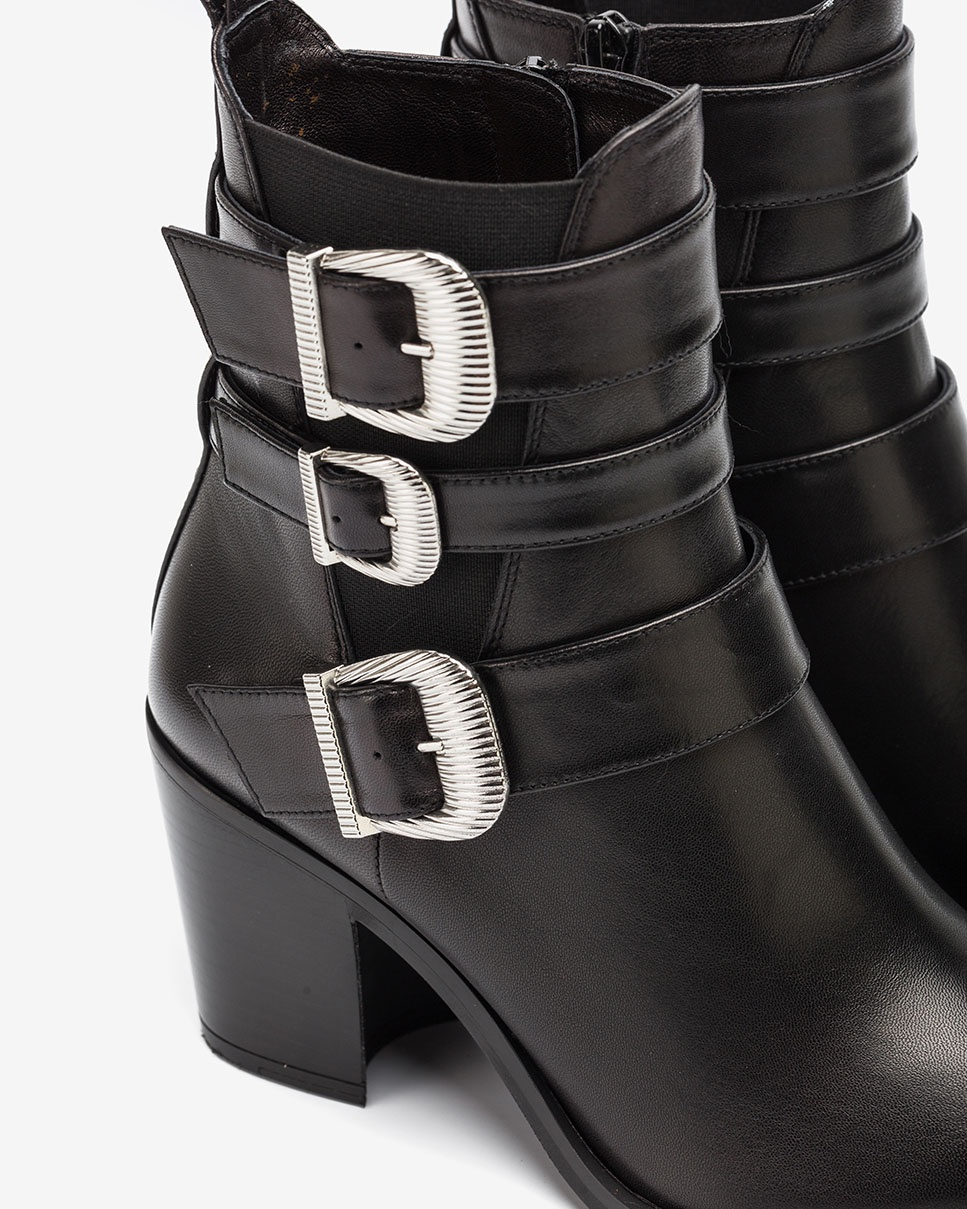 Black Cowboy ankle boots with buckles