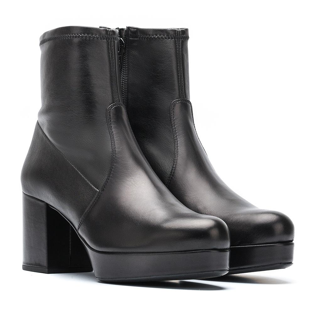 Black platform booties