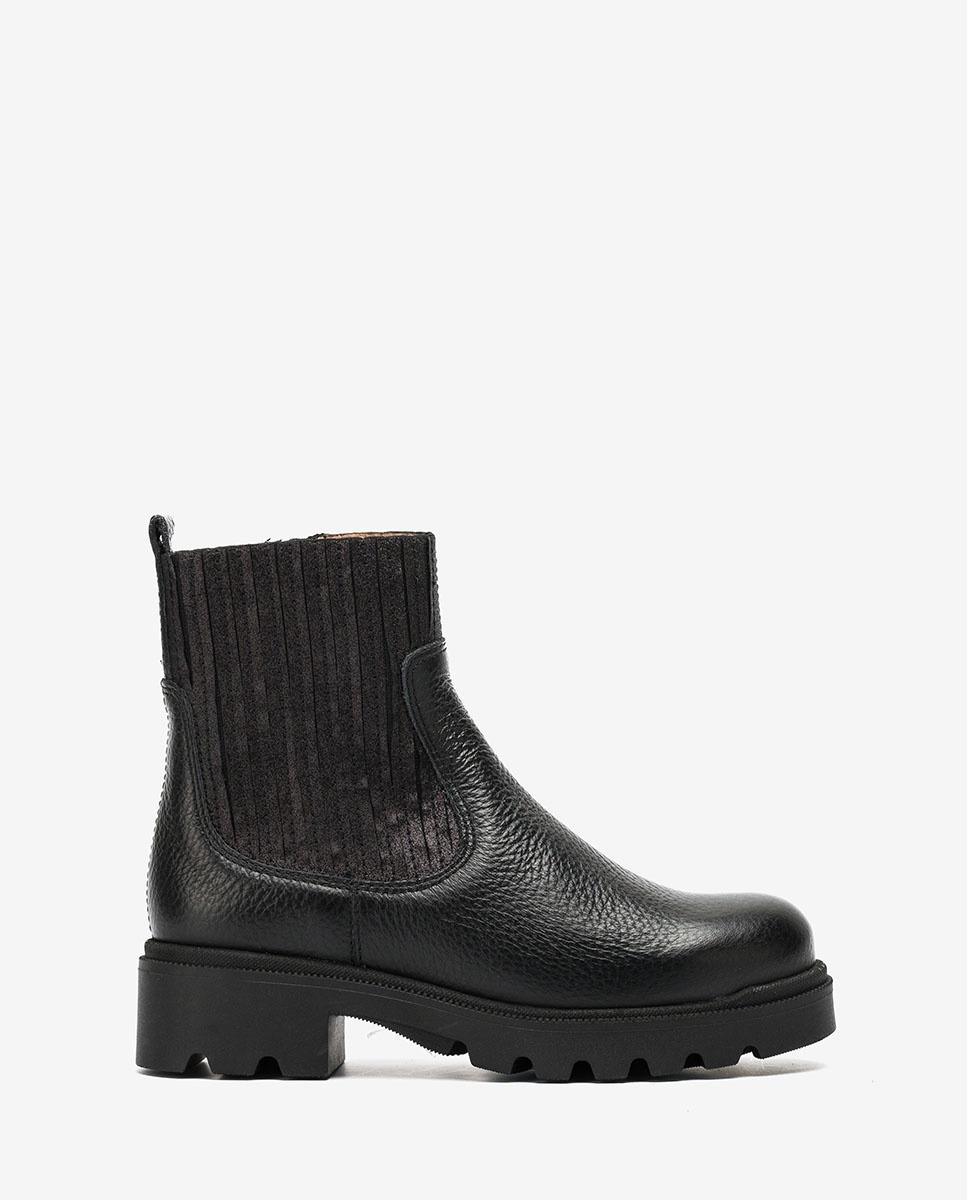 Little girl´s black booties elastic