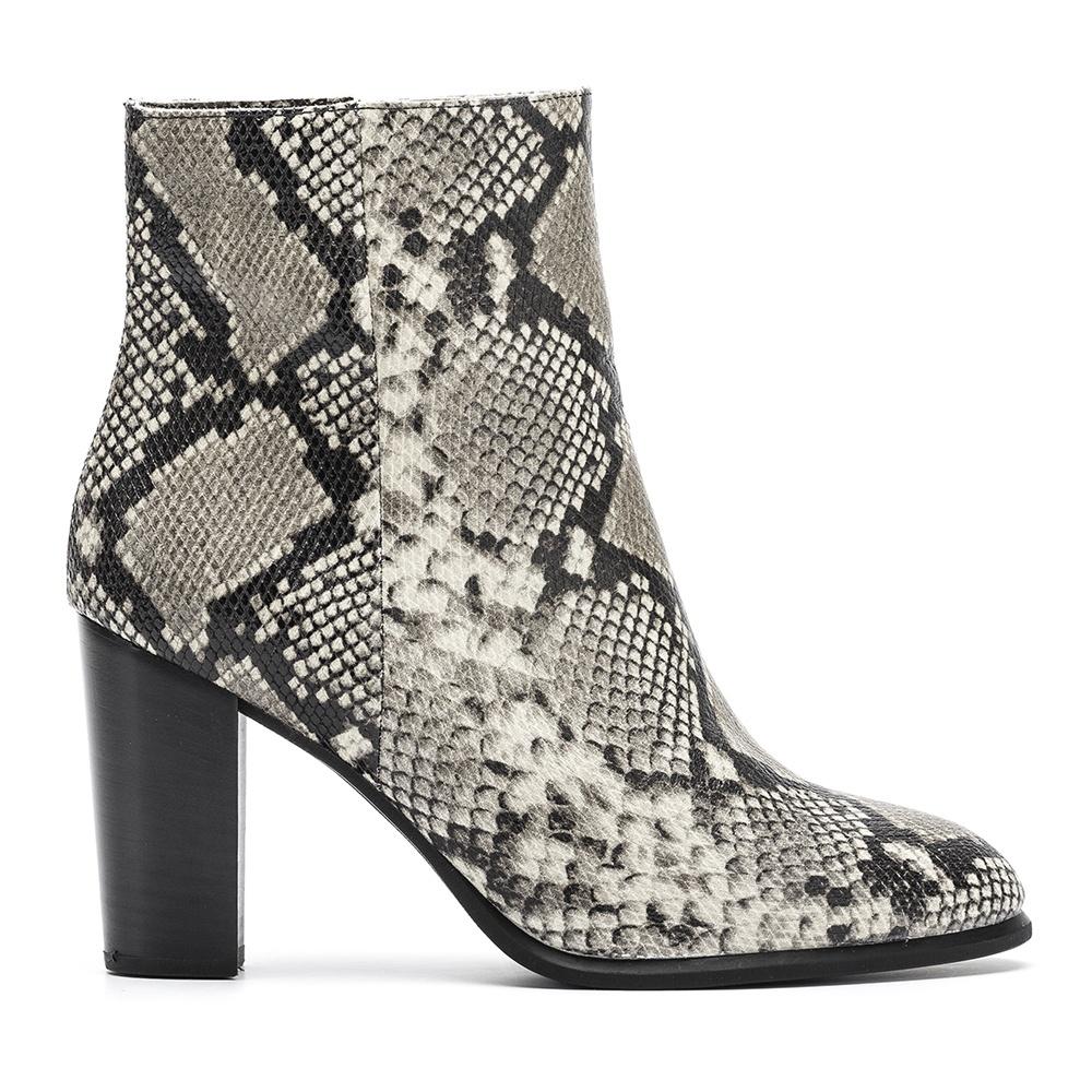Snake print booties wooden heel UGO_VP