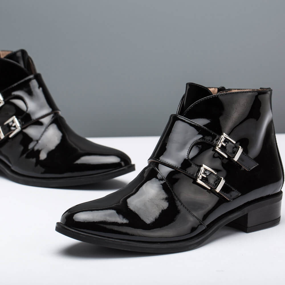 eac7d54748b Botines Braza Patent black mujer invierno