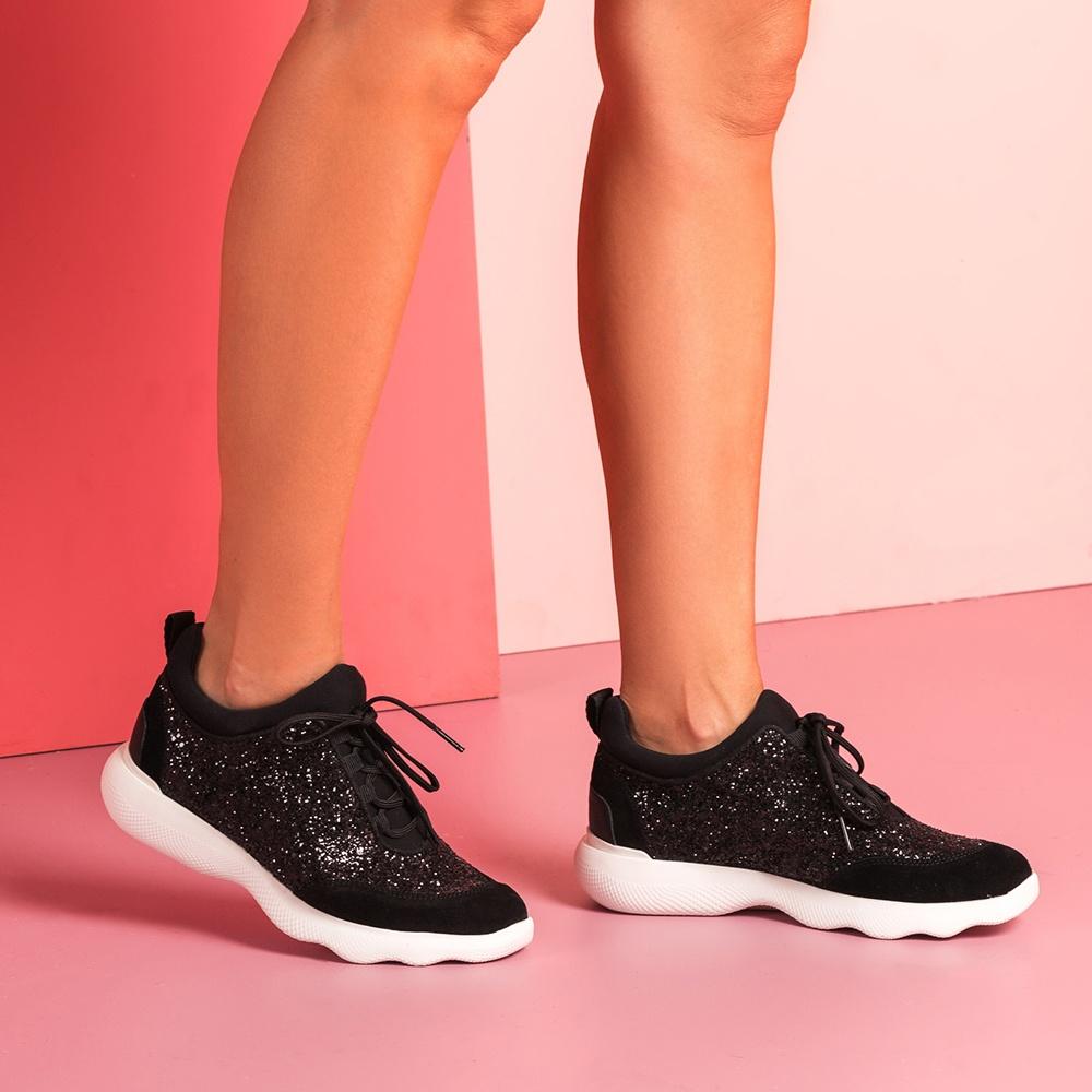 Glitter black sneakers EMERY_GL | Unisa