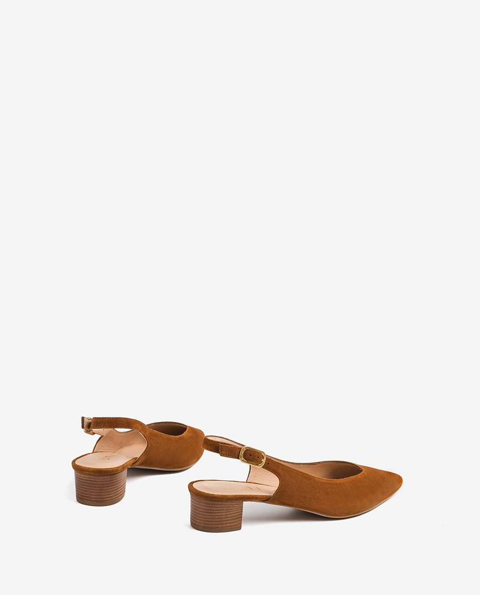 Kid suede slingbacks low heel