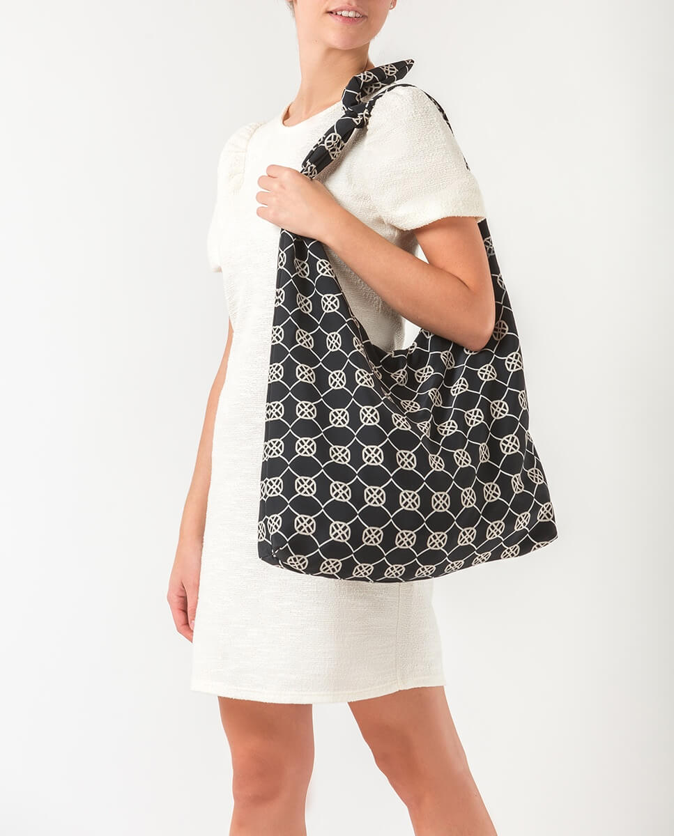 UNISA Monogram fabric hobo bag ZWENDY_FOU black 2