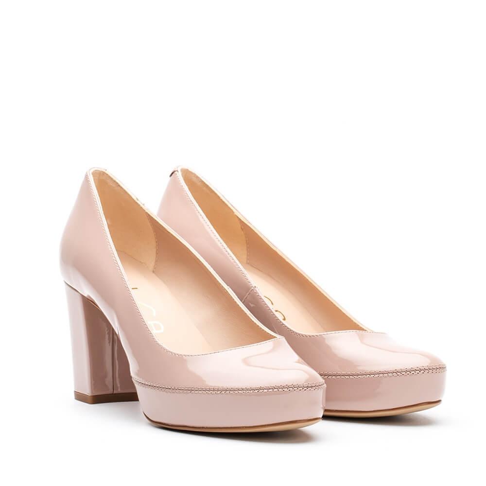 29a8afc2110 UNISA Wide heel patent leather pumps NUMAR 19 PA dusty 2
