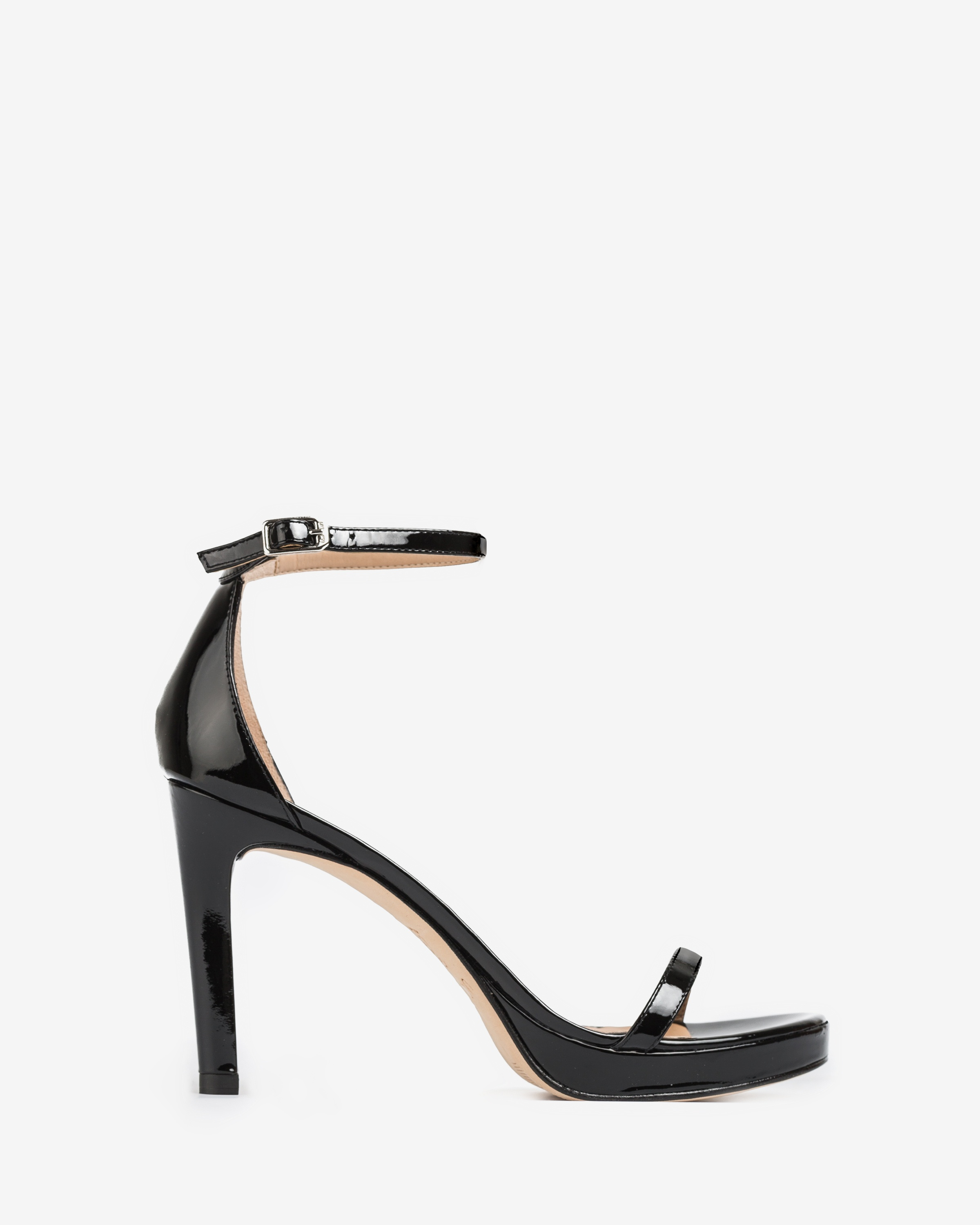 Patent leather sandals ankle strap