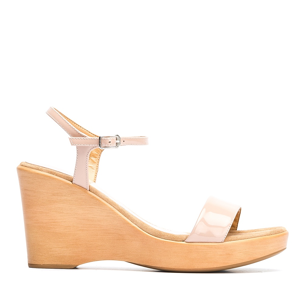 fbd584d9393 UNISA Patent leather wedge sandals RITA 19 PA dusty 2