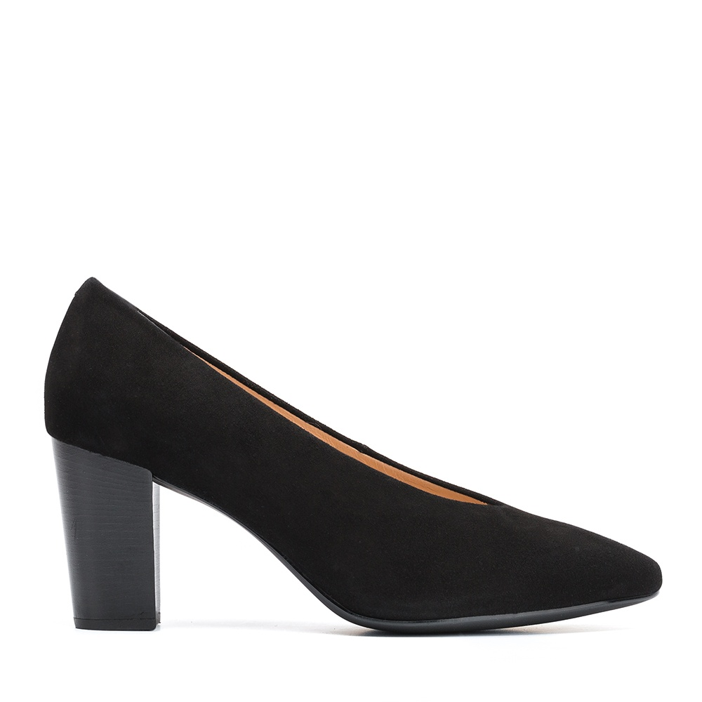 UNISA Kid suede pumps with wood effect high heel NIELS_KS black 2