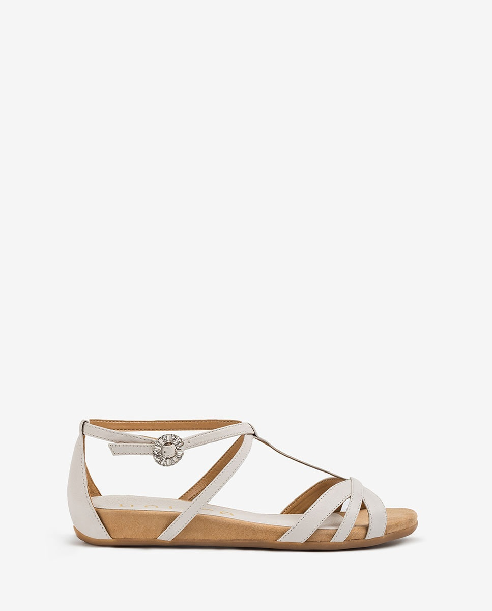 Sandale Bändchen Elfenbeinfarbe