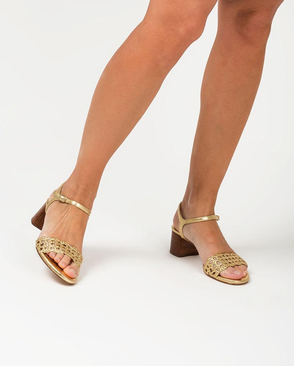 Sandale dorée tressagee