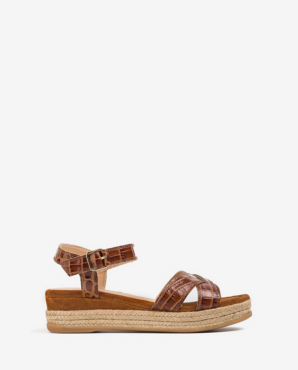 UNISA Croc effect leather wedge sandals GRANADA_CRW_KS saddle 2