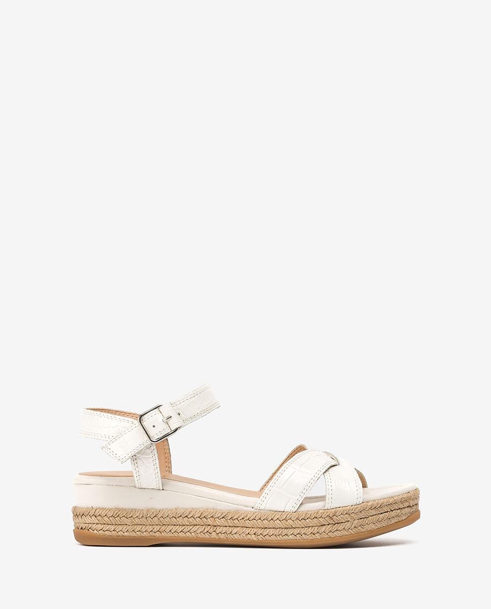Sandale blanche compensée contraste raphia