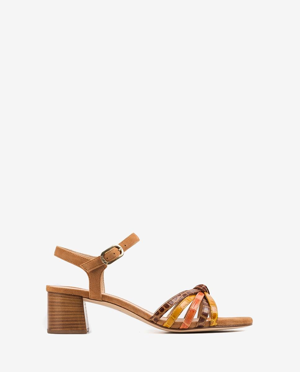 Sandaletten mit kontrastierenden Bändern in Kroko Optik