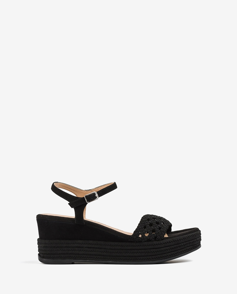 Wedge sandals braided fabric