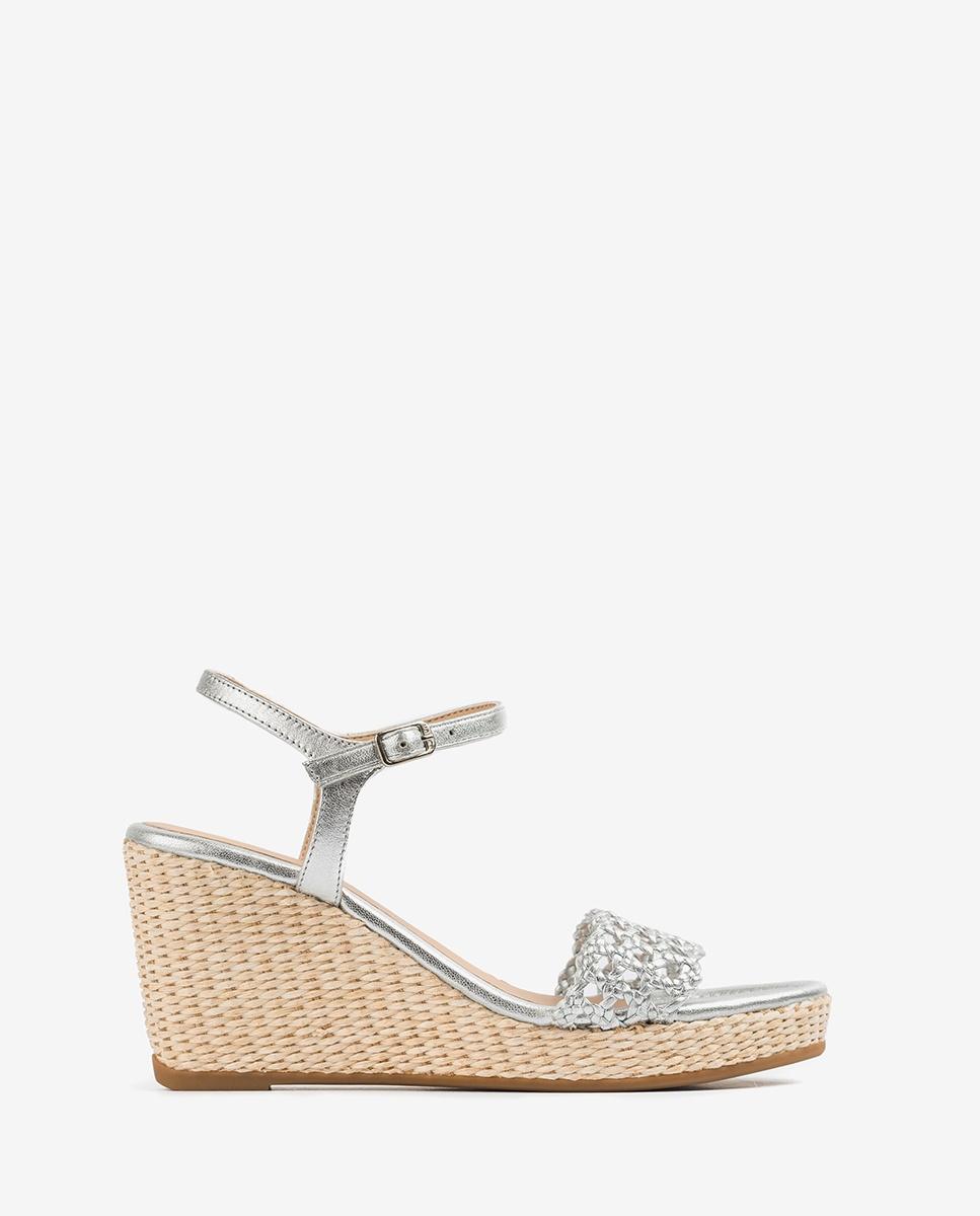 Metal effect macramé sandals