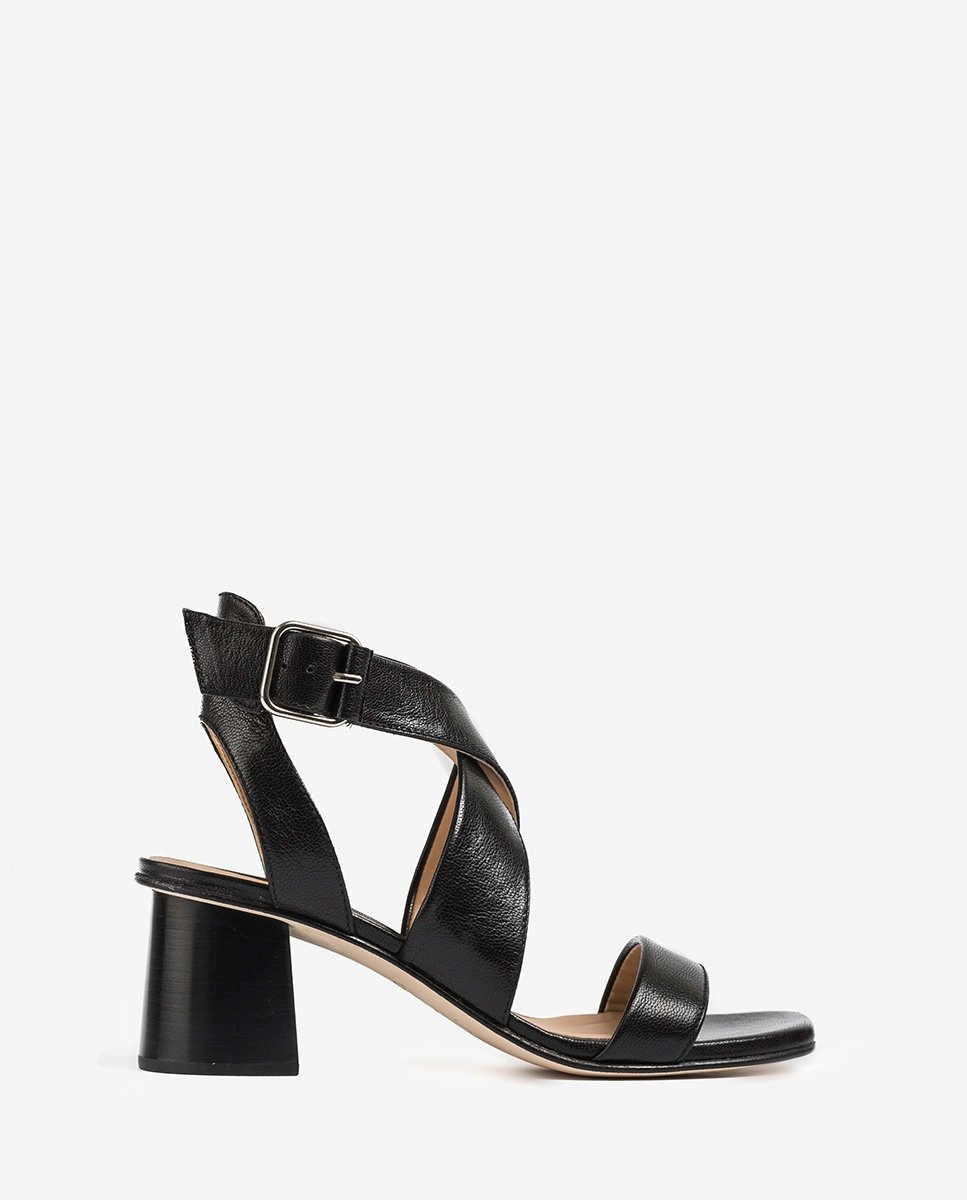 UNISA Crossed instep sandals wood effect heel MINER_GCR black 2