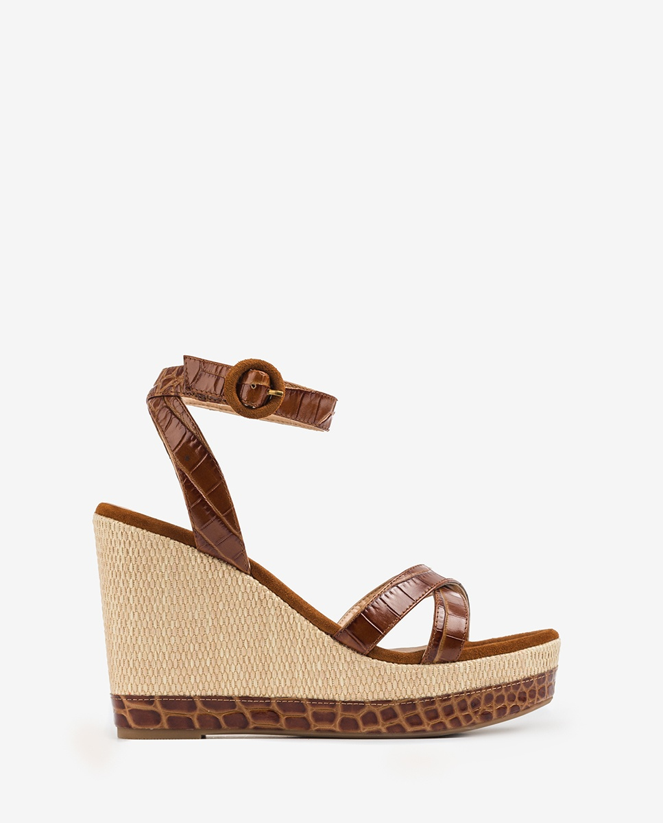 UNISA Croc wedge sandals MONTEA_CRW saddle 2
