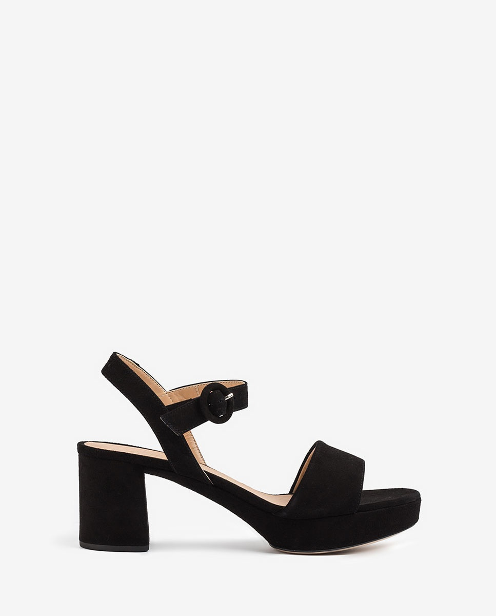 UNISA Kid suede retro sandals NENES_20_KS black 2