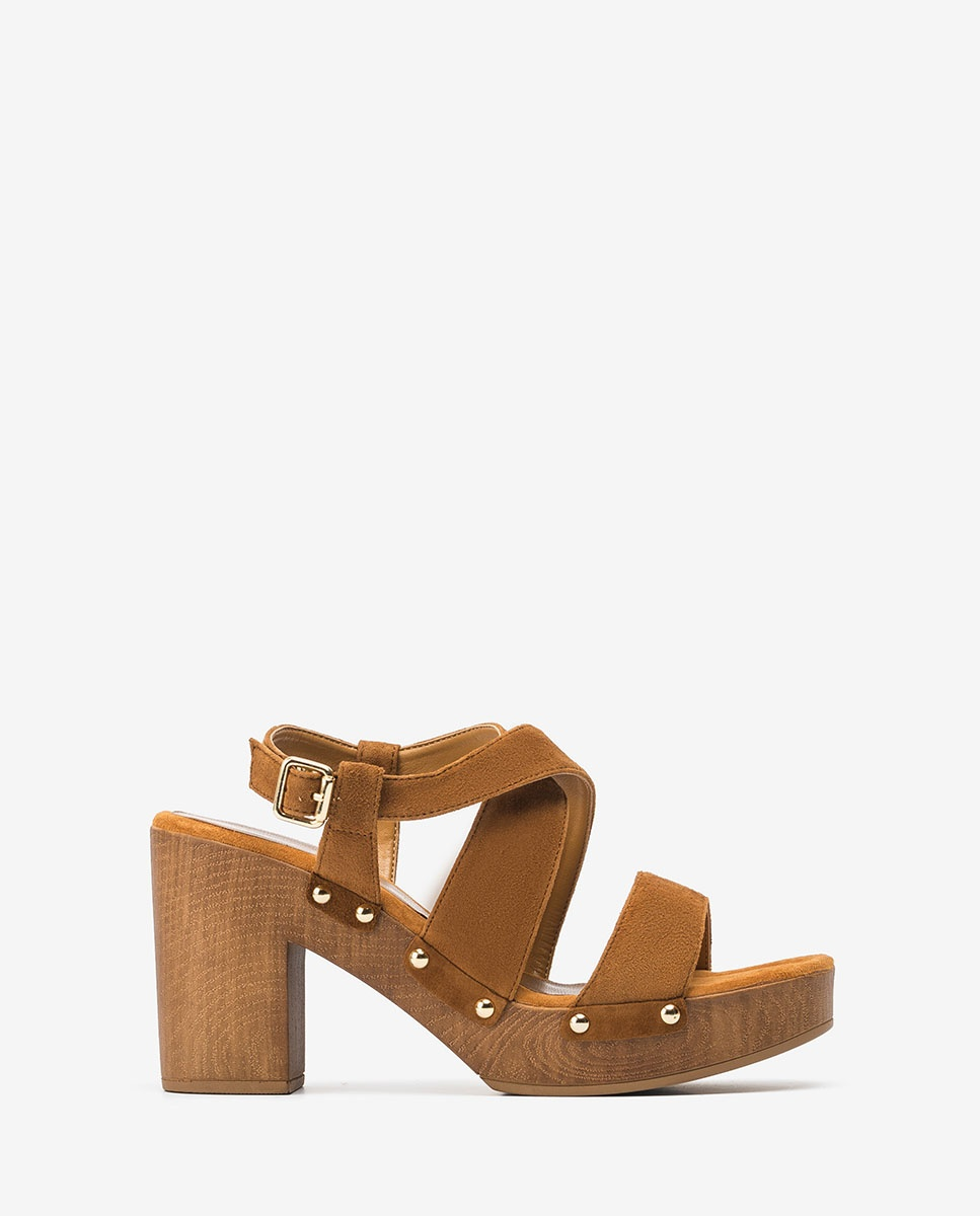 UNISA Kid suede block sandals TERRAT_KS argan 2