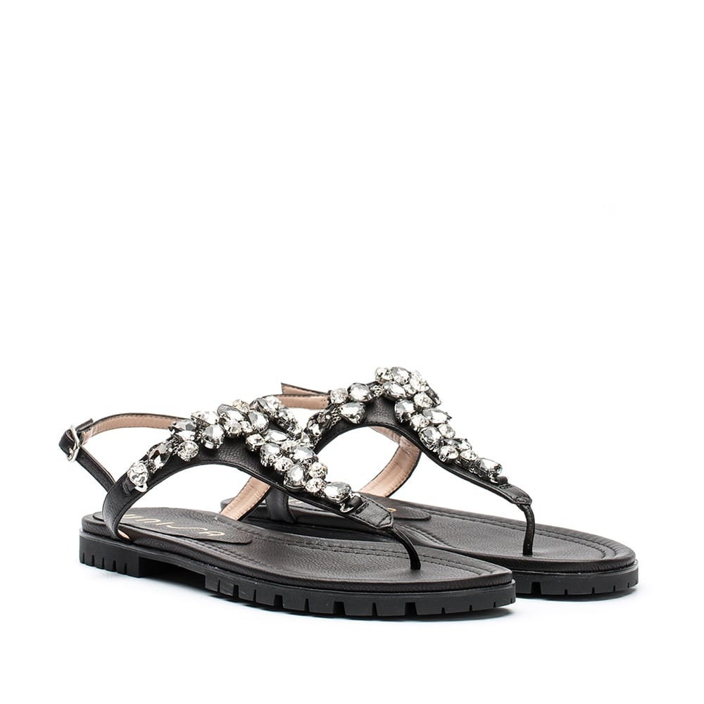 918d90eb3 UNISA CHESS ST - Black thong sandal with rhinestones