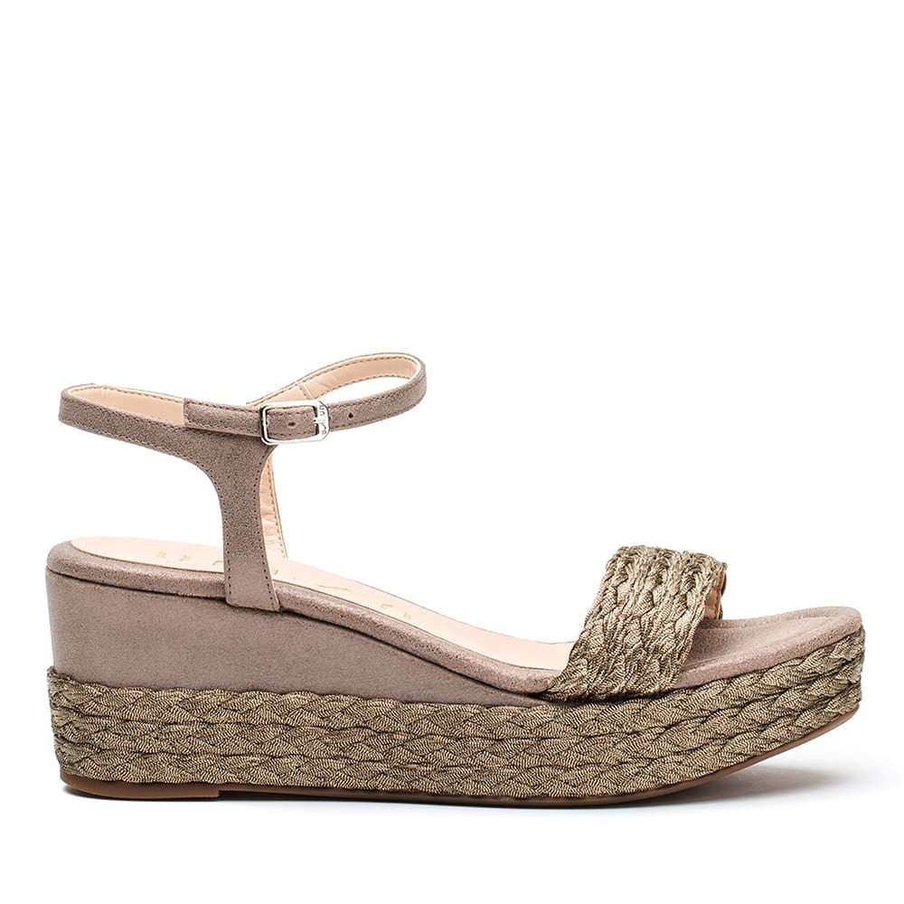 Metallic and braid sandal
