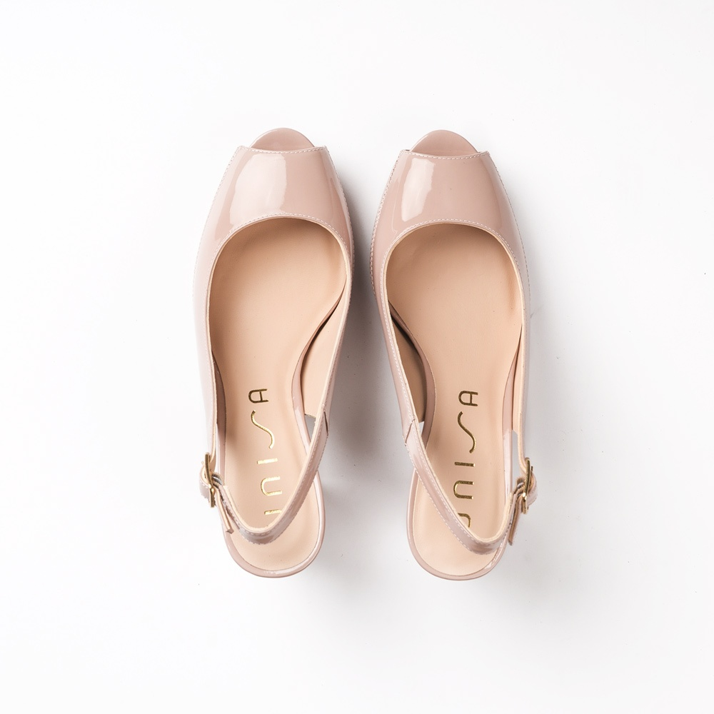 8d23096dc46 UNISA Wide heel patent leather peep toe NICK 19 PA dusty 2