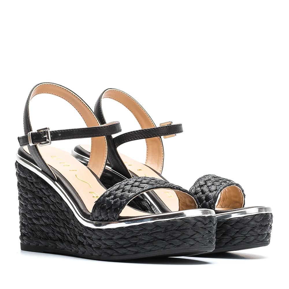 new products acd38 c874e Sandale Leder Keil Umflechtung