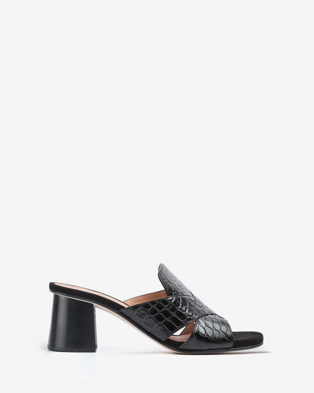 Wood effect heel contrast mules